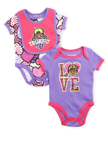 Baby Girl Trukfit Bodysuit 2 Pack with Bib,PURPLE,large