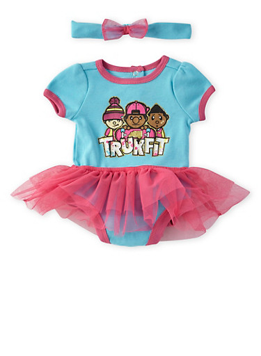 Baby Girl Trukfit Tiered Tutu Bodysuit with Glitter Graphic and Headband,TURQUOISE,large