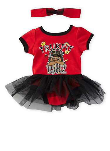 Baby Girl Trukfit Graphic Tutu Bodysuit with Headband,RED,large
