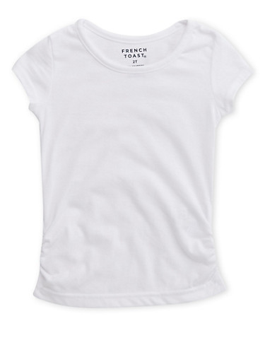 Toddler Girls French Toast Short Sleeve Crew Neck Tee with Ruched Sides,WHITE,large