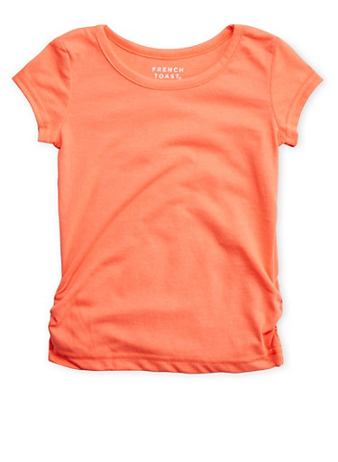 Toddler Girls French Toast Orange Short Sleeve Crew Neck Tee with Ruched Sides,CORAL,large