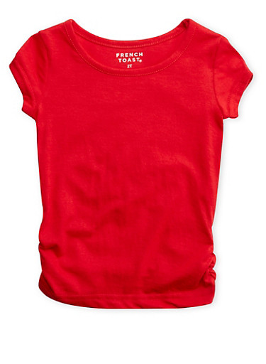 Toddler Girls French Toast Short Sleeve Crew Neck Tee with Ruched Sides,RED,large