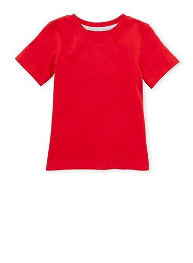 Toddler Boys French Toast Short Sleeve V-Neck Tee,RED,large