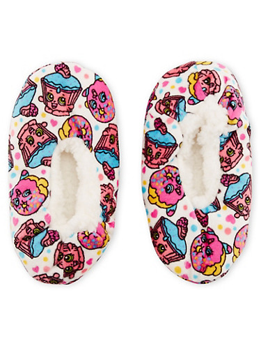 Girls Plush Slippers with Shopkins Graphic,WHITE,large