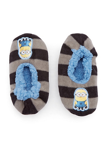 Boys Minions Slippers,GRAY,large