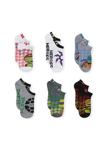 Boys Teenage Mutant Ninja Turtle 6 Pack No Show Ankle Socks,MULTI COLOR,large