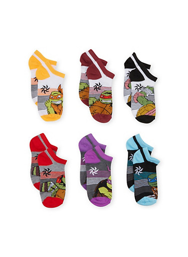 Boys Six Pack Ankle Socks with Teenage Mutant Ninja Turtles Graphics,MULTI COLOR,large