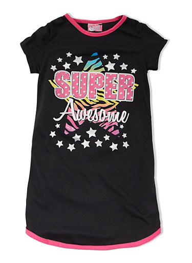 Girls 4-14 Shirt Nightgown with Super Awesome Graphic,BLACK,large