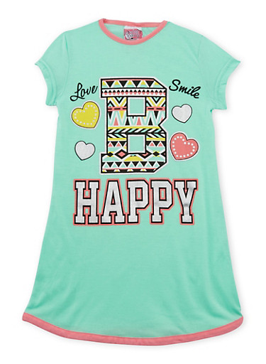 Girl 4-14 Nightgown with Graphic,GREEN,large