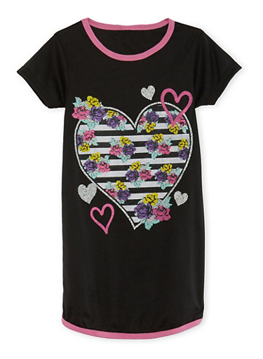 Girls 4-14 Night Gown with Print at Front,BLACK,large
