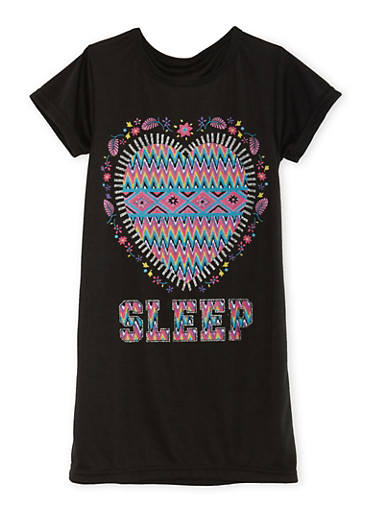 Girls 4-14 Graphic Night Gown,BLACK,large