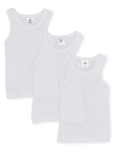 Toddler Boys 3-Pack of Solid Tank Tops,WHITE,large