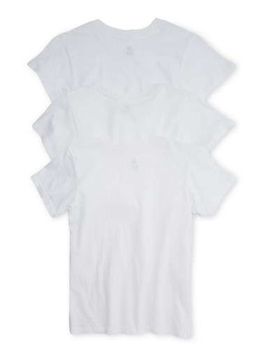 Boys 8-14 3-Pack of White T-Shirts,WHITE,large