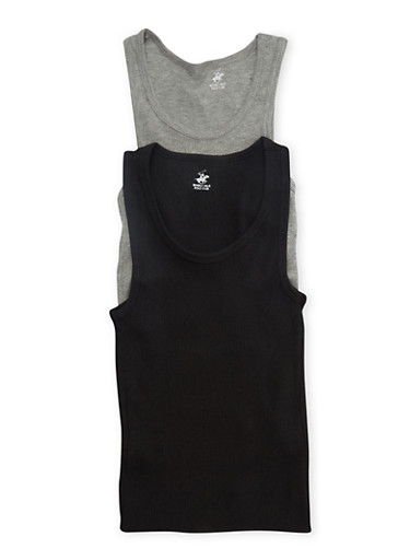 Boys 12-18 Ribbed Tank Top Two-Pack,BLACK,large