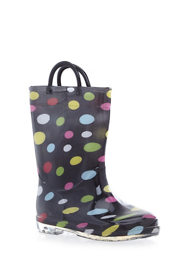 Girls Polka Dot Rain Boots with Clear Soles,BLACK,large