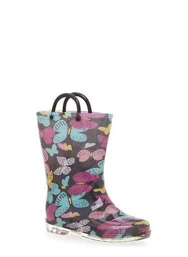Girls 11-4 Butterfly Print Rain Boots with Clear Soles,BLACK,large