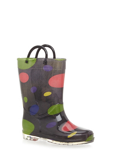 Girls Polka Dot Print Rain Boots,BLACK,large
