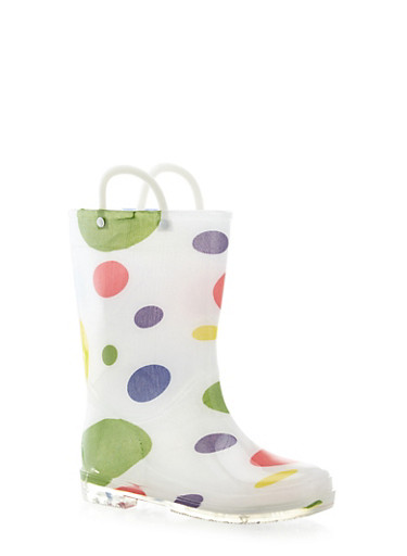 Girls 10-4 Polka Dot Print Rain Boots,WHITE,large