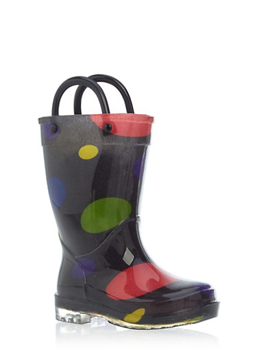 Toddler Girls Polka Dot Rain Boots with Clear Soles,BLACK,large