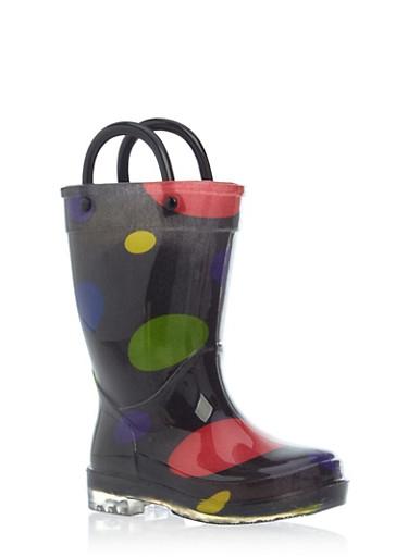 Toddler Girls Polka Dot Rain Boots,BLACK,large