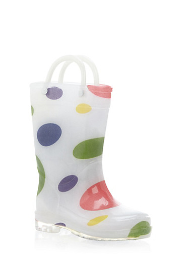 Toddler Girls Rubber Rain Boots with Polka Dots,WHITE,large
