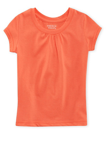 Girls 4-6x French Toast Short Sleeve Orange Crew Neck Tee,ORANGE,large