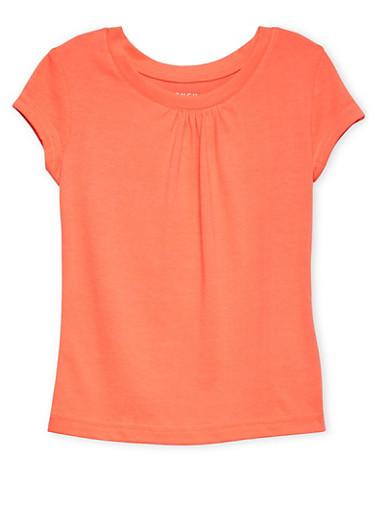 Girls 4-6x Orange Short Sleeve Crew Neck Tee,ORANGE,large