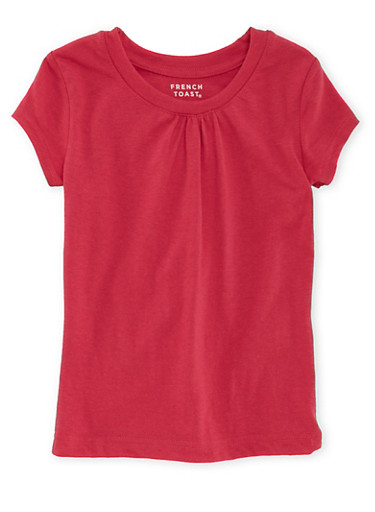 Girls 4-6x French Toast Pink Short Sleeve Crew Neck Tee,PINK,large