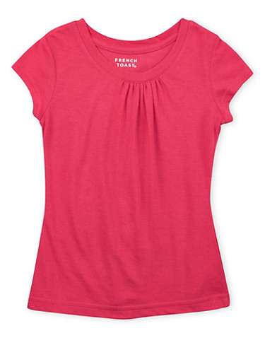 Girls 4-6x French Toast Top with Ruched Crew Neck,PINK,large