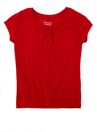 Girls 4-6x French Toast T-Shirt with Shirred Detail,RED,large