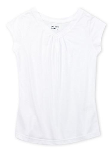 Girls 7-16 French Toast White Short Sleeve V-Neck Tee,WHITE,large
