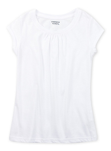 Girls 7-16 White Short Sleeve Crew Neck Tee,WHITE,large