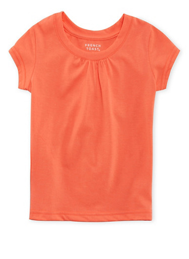 Girls 7-16 French Toast Crew Neck Tee with Shirred Detail,ORANGE,large