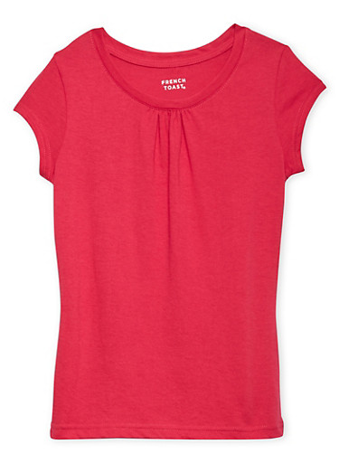 Girls 7-16 French Toast Pink Short Sleeve Crew Neck Tee,PINK,large