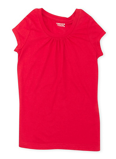 Girls 7-16 French Toast Red Short Sleeve Crew Neck Tee,RED,large