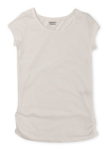 Girls 7-16 French Toast Short Sleeve Crew Neck Tee with Ruched Sides,WHITE,large