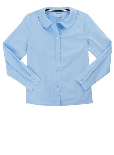 Girls 4-6X Long Sleeve Peter Pan School Uniform Blouse,BABY BLUE,large