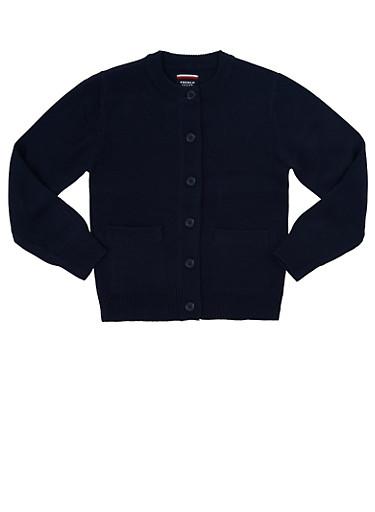 Girls 4-6x Cardigan Sweater School Uniform,NAVY,large