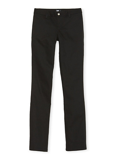 Young Women Skinny Leg Chino School Uniform Pants,BLACK,large