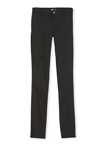 Young Women School Uniform Pants with Five Pockets,BLACK,large