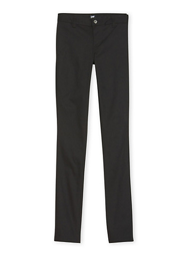 Young Women Chino School Uniform Pants,BLACK,large