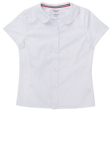 Girls 7-14 Short Sleeve Peter Pan School Uniform Blouse,WHITE,large