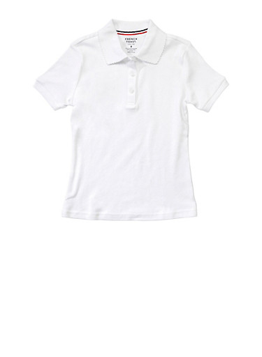 Girls 7-14 Short Sleeve Interlock Polo School Uniform,WHITE,large
