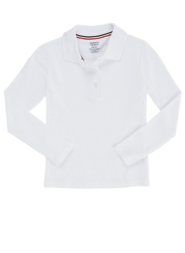 Girls 7-14 Long Sleeve Interlock Knit Polo School Uniform,WHITE,large
