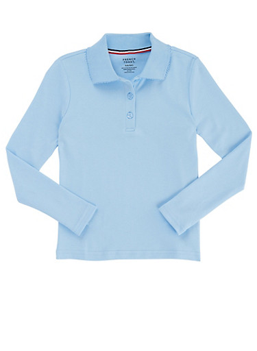 Girls 16-20 Long Sleeve Interlock Knit Polo School Uniform,BABY BLUE,large