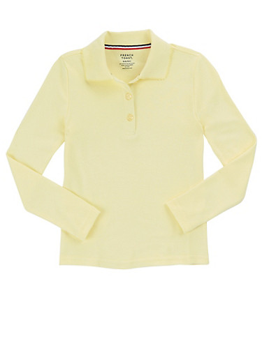 Girls 16-20 Long Sleeve Interlock Knit Polo School Uniform at Rainbow Shops in Daytona Beach, FL | Tuggl