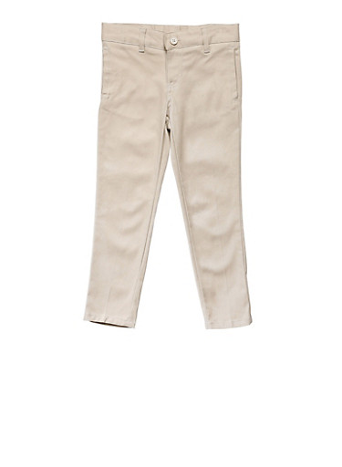 Girls 16-20 Skinny Stretch Twill Pant School Uniform,KHAKI,large