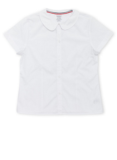 Girls Plus Size Short Sleeve Peter Pan School Uniform Blouse at Rainbow Shops in Daytona Beach, FL | Tuggl