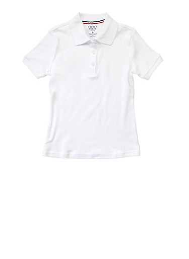 Girls Plus Size Short Sleeve Interlock Polo School Uniform,WHITE,large