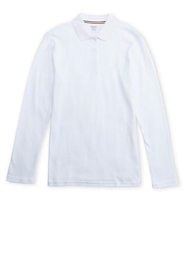 Girls Plus Size Long Sleeve Interlock Knit Polo School Uniform,WHITE,large